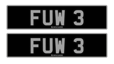 RESERVE LOWERED - PRIVATE REG PLATE - FUW 3
