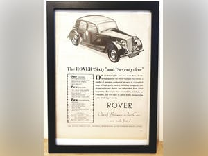 Original 1948 Rover P3 Framed Advert For Sale (picture 1 of 3)
