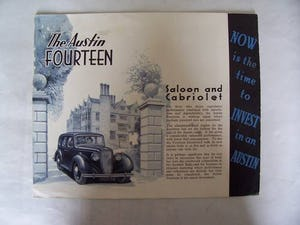 AUSTIN FOURTEEN GOODWOOD 1936 SALES BROCHURE For Sale (picture 1 of 6)