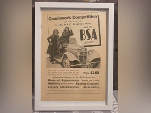 1966 Original 1939 BSA Scout Framed Advert  For Sale (picture 1 of 3)