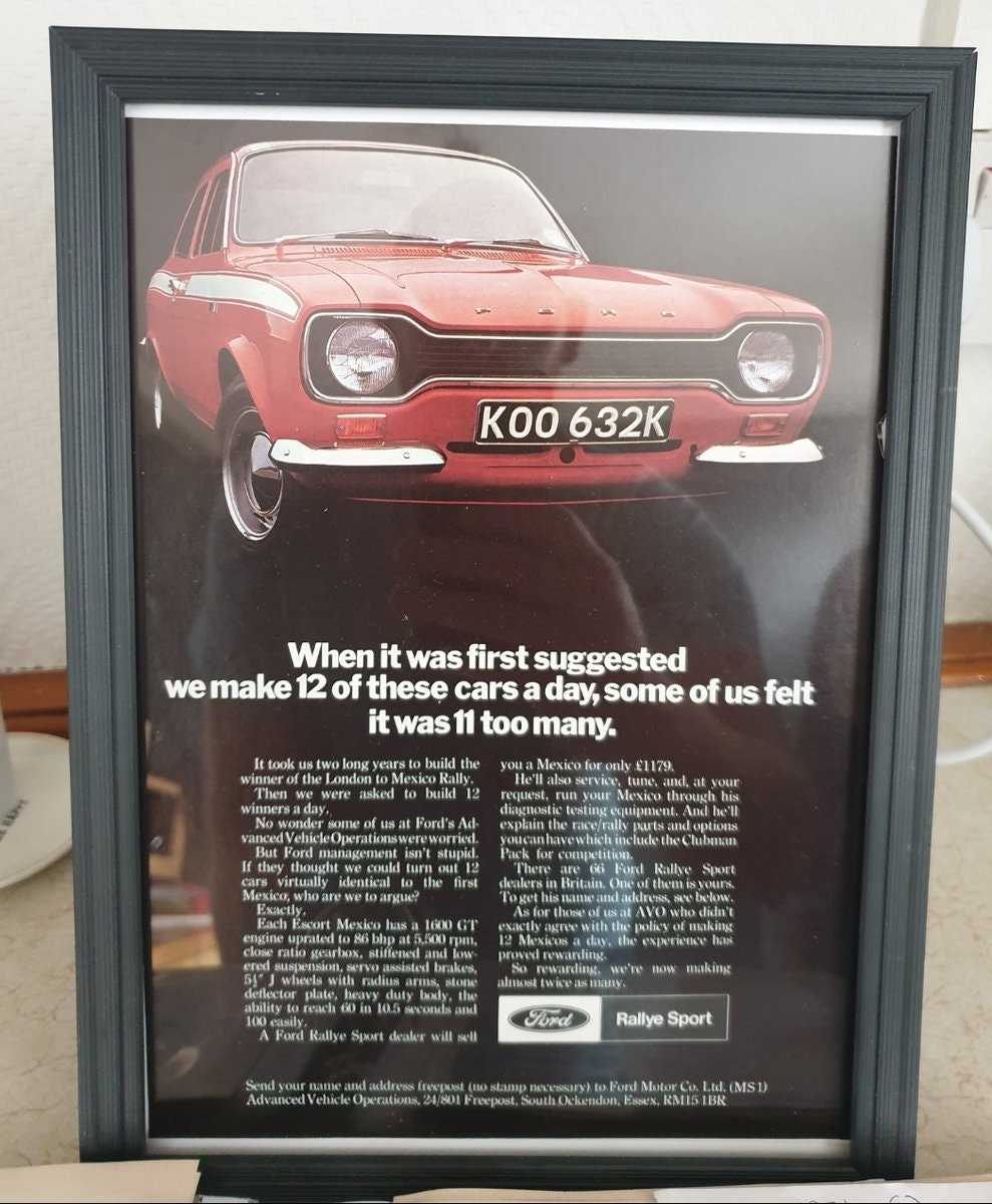 Original 1971 Ford Escort Mexico Framed Advert For Sale (picture 1 of 3)