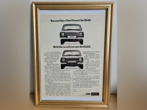 1990 Original 1972 Ford Escort Mexico Framed Advert For Sale (picture 1 of 3)