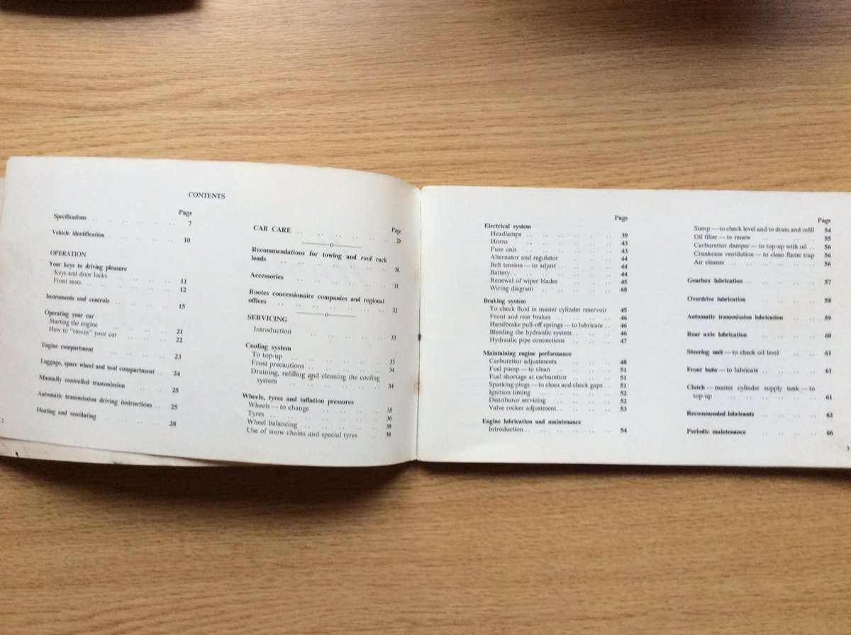 Hillman Hunter OWNERS INSTRUCTIONS For Sale (picture 2 of 3)