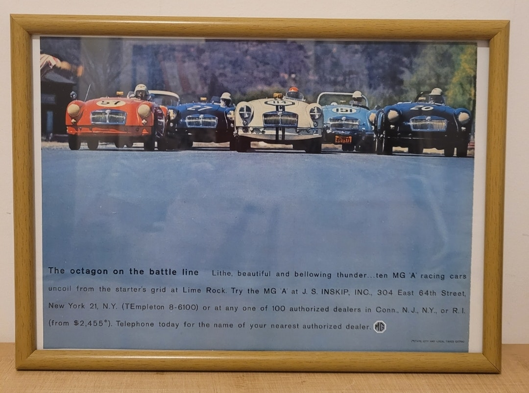 1981 Original 1960 MGA Framed Advert For Sale (picture 1 of 3)