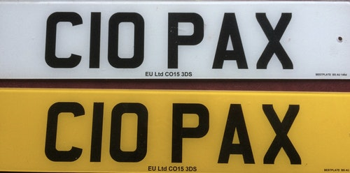 Picture of Number Plate C 10 PAX For Sale