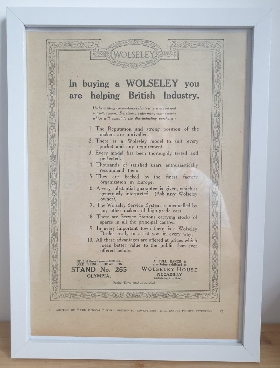 1965 Original 1922 Wolseley Framed Advert  For Sale (picture 1 of 3)