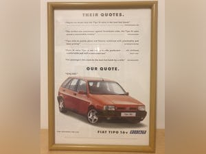 1977 Original 1992 Fiat Tipo Framed Advert For Sale (picture 1 of 3)