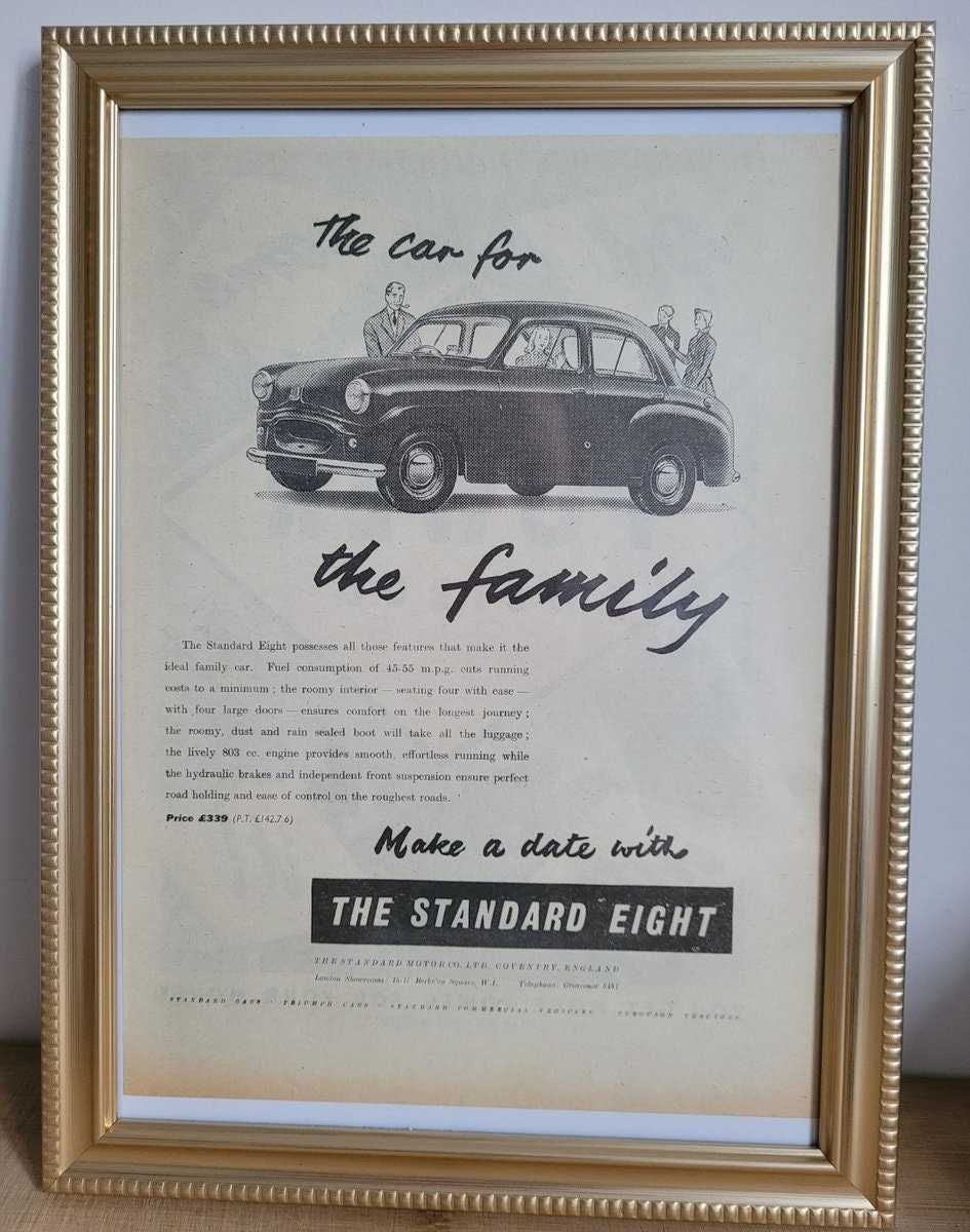 1949 Original 1954 Standard Eight Framed Advert For Sale (picture 1 of 3)