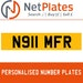 N911 MFR  PERSONALISED PRIVATE CHERISHED DVLA NUMBER PLATE