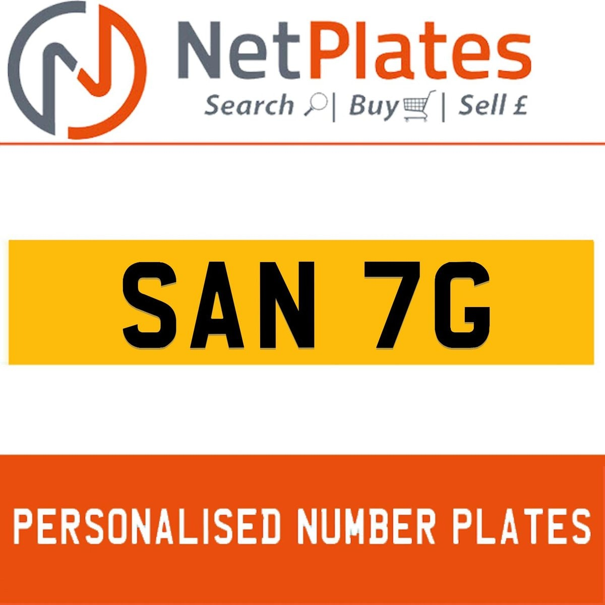 SAN 7G PERSONALISED PRIVATE CHERISHED DVLA NUMBER PLATE For Sale (picture 1 of 5)