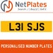 L31 SJS PERSONALISED PRIVATE CHERISHED DVLA NUMBER PLATE