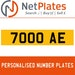 7000 AE PERSONALISED PRIVATE CHERISHED DVLA NUMBER PLATE