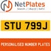 STU 799J PERSONALISED PRIVATE CHERISHED DVLA NUMBER PLATE