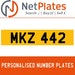 MKZ 442 PERSONALISED PRIVATE CHERISHED DVLA NUMBER PLATE