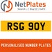 RSG 90Y PERSONALISED PRIVATE CHERISHED DVLA NUMBER PLATE
