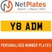 Y8 ADM PERSONALISED PRIVATE CHERISHED DVLA NUMBER PLATE