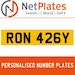 RON 426Y PERSONALISED PRIVATE CHERISHED DVLA NUMBER PLATE