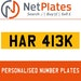 HAR 413K PERSONALISED PRIVATE CHERISHED DVLA NUMBER PLATE