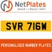 SVR 716W PERSONALISED PRIVATE CHERISHED DVLA NUMBER PLATE