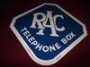 Picture of 2017 R.A.C. Telephone Box Sign. SOLD